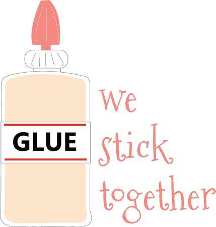 to glue: Se adhieren a sus ideas en esta artesan�a con el pegamento. Vectores