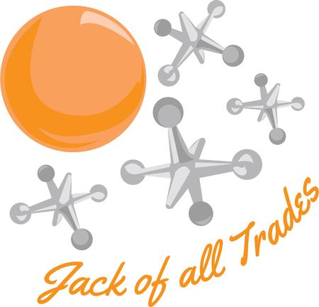 jacks: Children will like this ball and jacks on a playtime project. Illustration