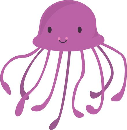 beach bag: A jellyfish will look great on a summer beach bag. Illustration