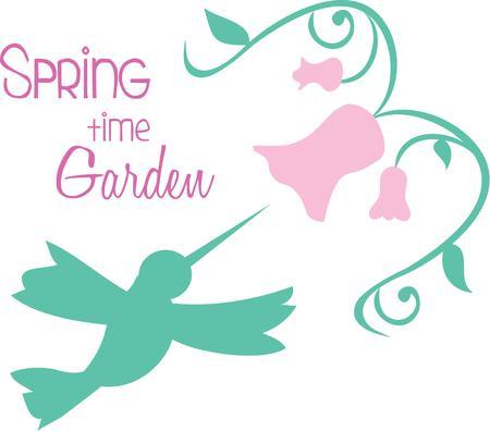 humming: Nice handmade humming bird flower designs on the wall. Illustration