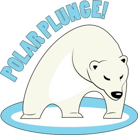 plunge: Use this polar bear for a fun winter project. Illustration