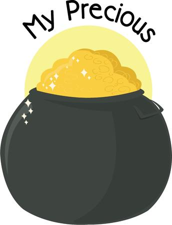 gaelic: Use this pot of gold for an Irish celebration. Illustration