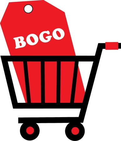 bogo: use this shopping cart for your shopping Illustration
