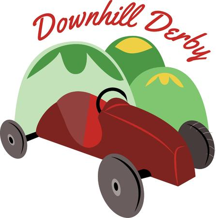 wash face: Best outdoor activity to have fun at the Soapbox derby event with your family and friends. Illustration