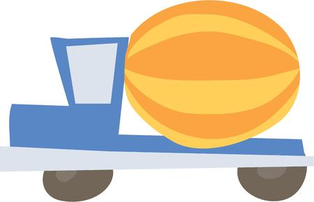 pillow case: Use this construction truck for your little ones pillow case or bath towel. Illustration