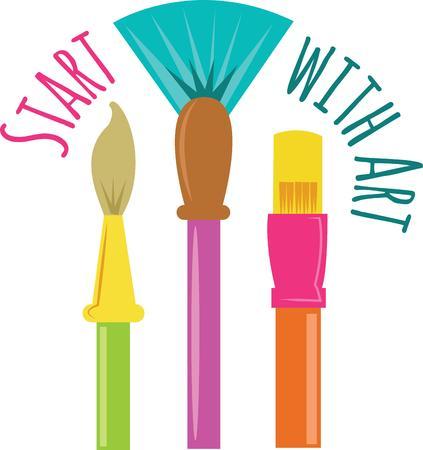 sobresalir: Estos cepillos de pintura de colores le ayudar� a sobresalir en sus proyectos de arte Vectores