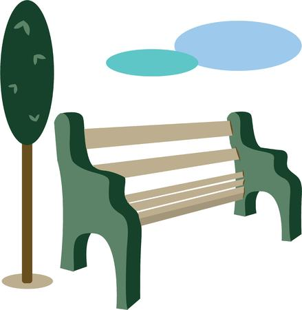 garden bench: Use this park bench for relaxing on a lazy Sunday afternoon. Illustration