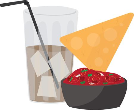 chips and salsa: These tasty nachos will be a fun addition to your fiesta project. Illustration