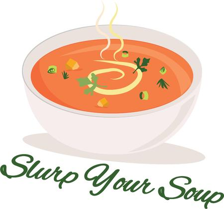 slurp: A delicious bowl of soup will look nice on a kitchen apron.
