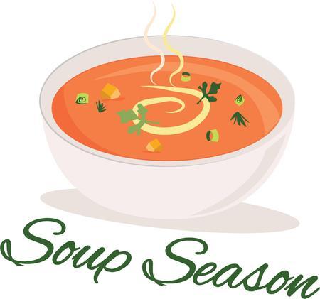 slurp: Un delicioso plato de sopa se vean bien en un delantal de cocina.