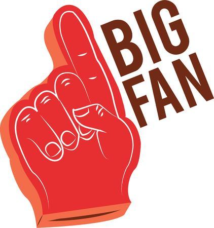 楽しんで: Sports fans will have fun with a foam finger.  イラスト・ベクター素材