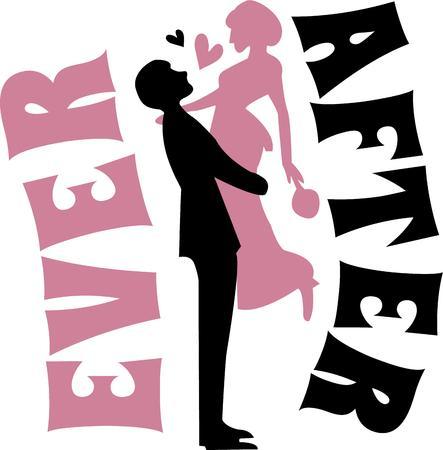 decoracion boda: Una novia y el novio es una gran decoraci�n de la boda. Vectores
