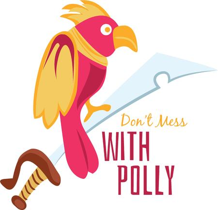 polly: Make a silly hat for a pirate with a parrot and sword. Illustration