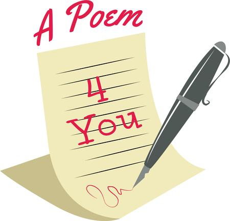 writing equipment: Send a love note. Illustration
