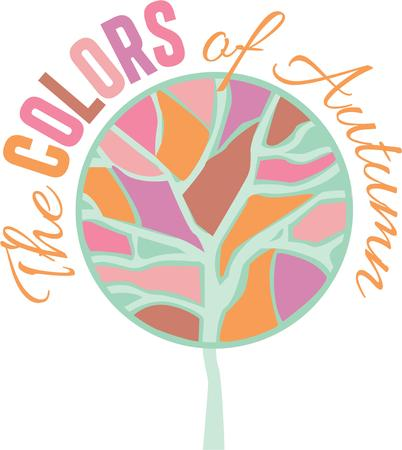 colorful tree: A colorful tree is a wonderful accent on a nature project.