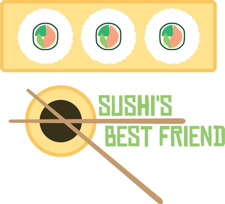 soy sauce: Use this sushi and soy sauce design for your Eastern loving friend. Illustration