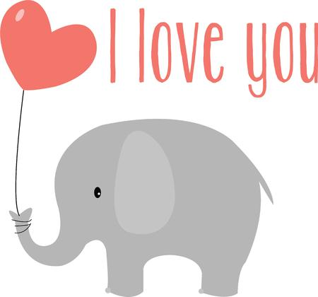 pachyderm: An elephant is a cute way to send a special valentine. Illustration