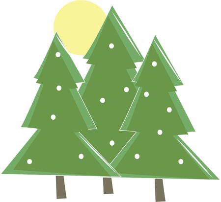 winter holiday: Snowy alberi sono un meraviglioso disegno per una vacanza invernale.