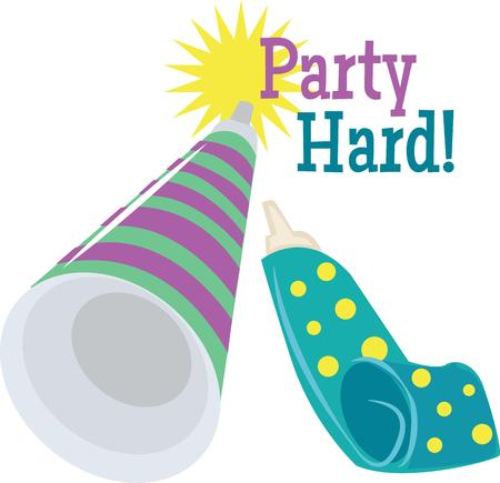 holiday maker: Celebrate the new year with party horns. Illustration