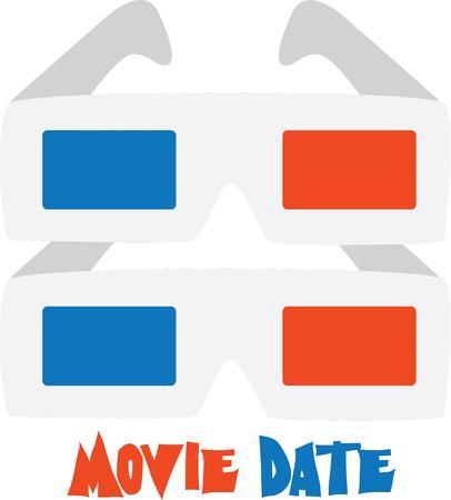 楽しんで: Have fun at the movies with 3D glasses.  イラスト・ベクター素材