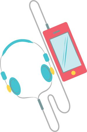 ear bud: This player will make a great design for a music lover. Illustration