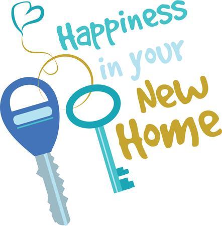 latchkey: Make a new home gift with shiny keys. Illustration