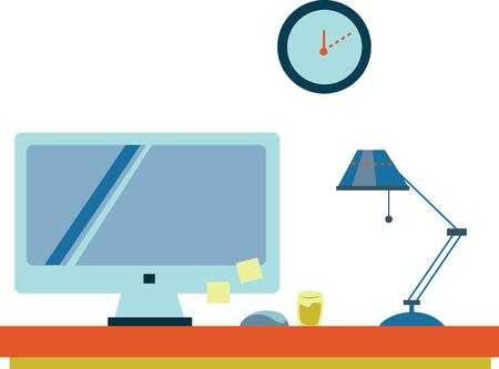 office cubicle: Decorate an office cubicle with a fun work day scene. Illustration
