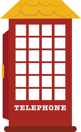 keep in: Remind a friend to keep in touch with an old style phone booth. Illustration