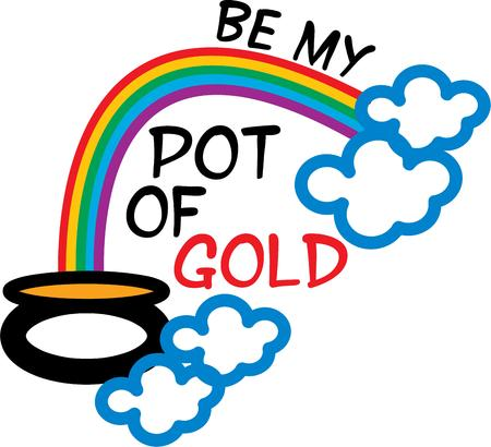 end of rainbow: Everyone wants to find a pot of gold at the end of the rainbow. Illustration