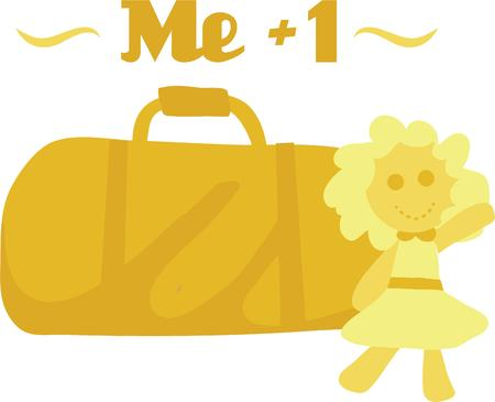 rags: Decorate an overnight bag for a little girl. Illustration