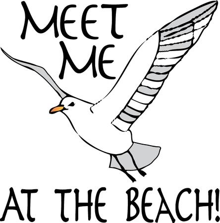 skimmer: A beautiful seagull is the perfect accent for a beach tote.