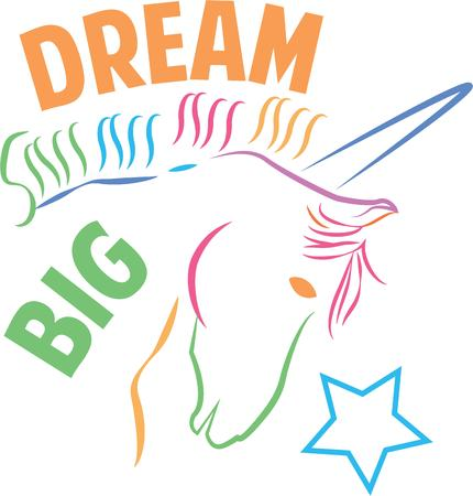 mythological character: A rainbow unicorn is perfect for a magical project.