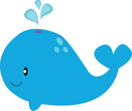 cetacean: A cute spouting whale is a great design for a nursery