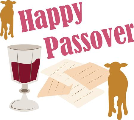 pesach: Celebrate Passover with religious symbols on a tablecloth.