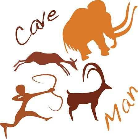 cave painting: Ir nativo con una pintura rupestre en su sombrero.