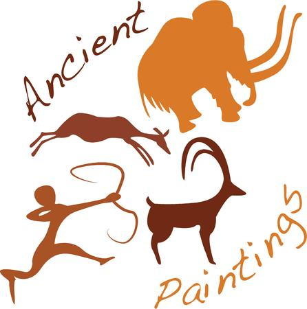 pintura rupestre: Ir nativo con una pintura rupestre en su sombrero.