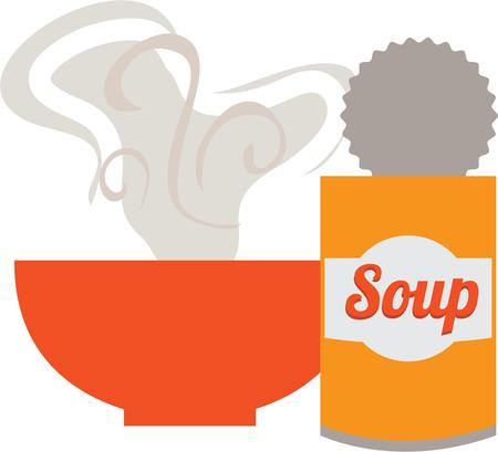 steamy: Steamy soup will be a fun decoration on a kitchen towel or apron. Illustration