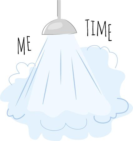 steamy: Use this steamy shower for your next bathroom project. Illustration