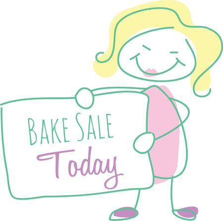 bake sale: Use this sign and woman design for your next friendly message.