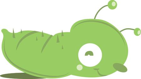 maggot: A gardener will love a cute caterpillar on a tshirt or work apron. Illustration