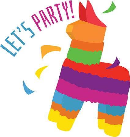 pinata: Have a fun party with a pinata. Illustration
