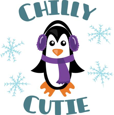 south pole: Decorate a winter scarf or shirt with a cute penguin. Illustration