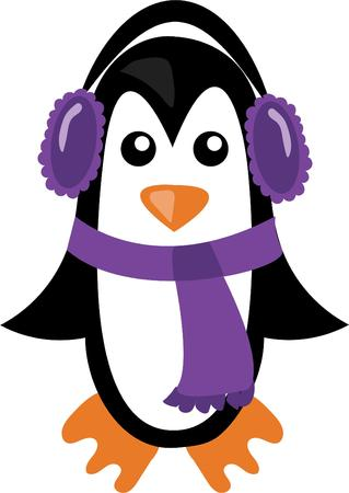 ear muff: Decorate a winter scarf or shirt with a cute penguin. Illustration