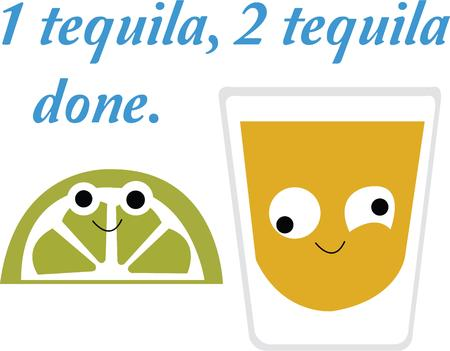 amused: Time to celebrate with this perfect design to please the tequila lovers! It will look cool on cocktail napkins, kitchen dcor and more! Illustration