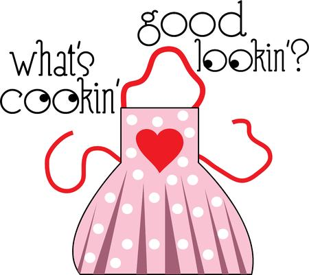 pinafore: A home cook will enjoy a heart apron for baking. Illustration