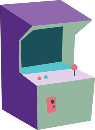 arcade games: Have fun while playing games with an old style arcade game on a tshirt. Illustration