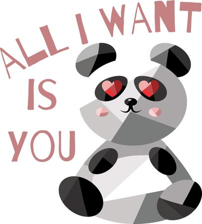 i want you: An adorable panda is a wonderful way to send a love message. Illustration
