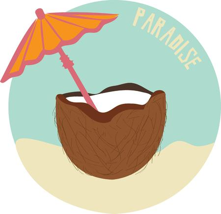 compliment: A festive beverage served up in a coconut - you must be in a tropical paradise.  This refreshing design is a fun compliment to beach gear or island wear.  Get ready for vacation!