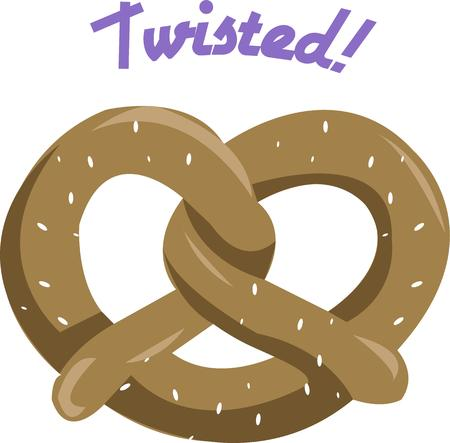 twisty: This twisty, salted bread is a favorite.  A pretzel snack is a tasty decoration for kitchen gear or food carriers. Illustration
