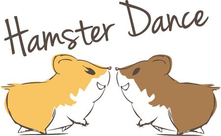 humorous: Hamsters in love spread a unique charm.  What a humorous Valentine decoration Illustration